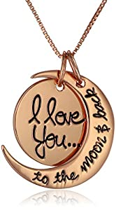 "Sterling Silver Rose-Gold Flashed ""I Love You To The Moon and Back"" Two Piece Pendant Necklace, 18"""