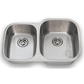 Undermount Stainless Steel Offset Double Bowl Kitchen Sink
