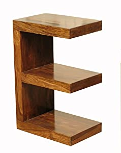 Cube sheesham e shaped solid wood sheesham end table e for Solid wood cube side table