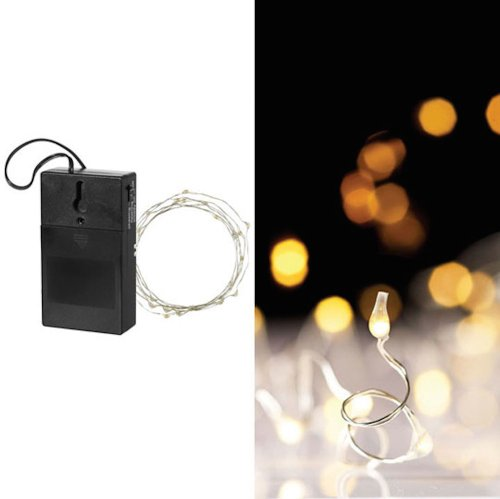 9 Feet; 36 Phasing Or Flashing (Multi-Function) String Micro-Size Led White Lights Garland For Weddings, Christmas, Or Displays, Battery Operated With Timer