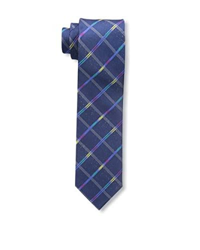 Bruno Piattelli Men's Slim Fancy Plaid Tie, Blue