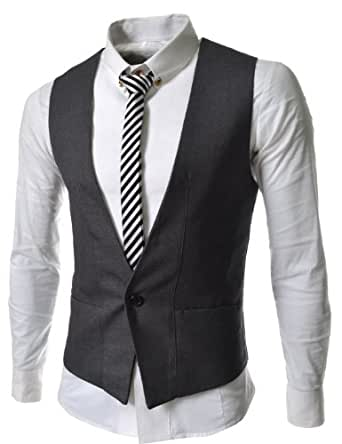 TheLees Mens Business Casual Slim fit Vest Waistcoat at