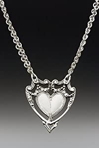 Silver Spoon Marquis Heart Pendant Necklace on Double Chain