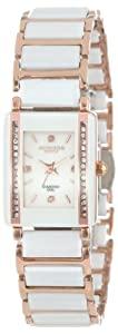 Akribos XXIV Women's AK522RG Ceramic Rectangular Quartz Bracelet Watch