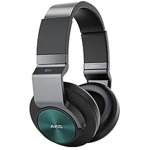 AKG K545 Geschlossene Over-Ear Kopfhörer mit Bedieneinheit und Mikrofon Kompatibel mit iOS und Android Smartphones - Schwarz/Türkis