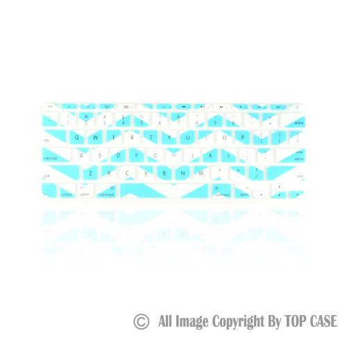 """Topcase White Chevron Series Zig-Zag Silicone Keyboard Cover Skin For New Macbook Air 11"""" + Topcase Mouse Pad (New Macbook Air 11"""", Hot Blue And White)"""