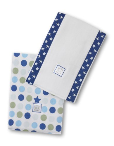 Swaddledesigns Baby Burpies, Dots And Stars (Set Of 2 In Navy)