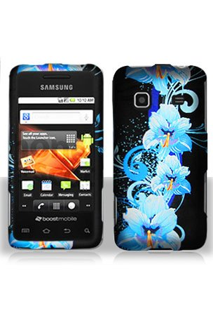 Samsung M820 Galaxy Prevail Graphic Case - Blue Flower (Free HandHelditems Sketch Universal Stylus Pen)