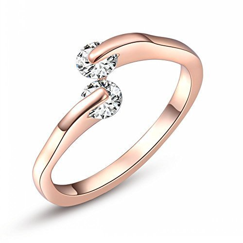 Angelady High Quality Fashion Simple Double Zircon 18k Rose Gold Plated Ring, Set with AAA Zircon Cystal Engagement Wedding Band Ring Luxury and Exquisite Jewelry (6) - 1
