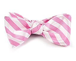 100% Woven Silk Wild Pink Twill White Striped Self-Tie Bow Tie