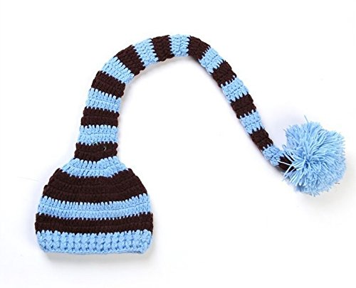 Dealzip Inc® Fashion Unisex Newborn Boy Girl Cute Colourful Stripes Crochet Knitted Photography Baby Hat With Long Braid(Blue&Brown) +Gift Pattern Send Randomly front-604249