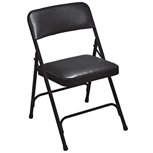 "National Public Seating 1210 Premium Vinyl Folding Chair, 1200 Series, 1-1/4"" Foam Seat, 4 Per Carto"