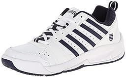 K-Swiss Men\'s Vendy II Everyday Tennis Shoe, White/Navy, 9.5 M US