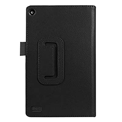 """2015 Amazon Kindle Fire HD 7"""" Tablet TOOPOOT Leather Stand Case (Black)"""