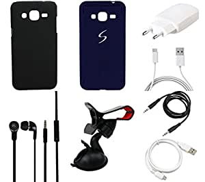 NIROSHA Cover Case Charger Headphone USB Cable Mobile Holder for Samsung Galaxy J5 - Combo
