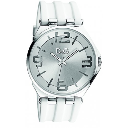 Dolce & Gabbana Women's Watch Analogue Quartz DW0763 with White Rubber Strap Silver Dial