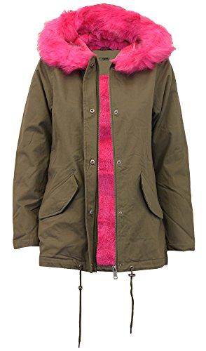Chocolate Pickle® Nuove signore pelliccia Sherpa cappuccio Parka cappotto vello foderato giacca invernale Khaki/Pink 46