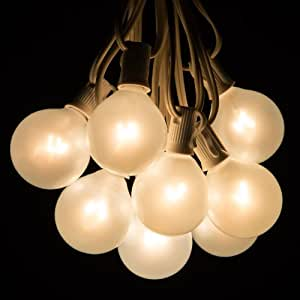 25 Foot Globe Patio String Lights - Set of 25 G50 White Pearl Bulbs with White Cord