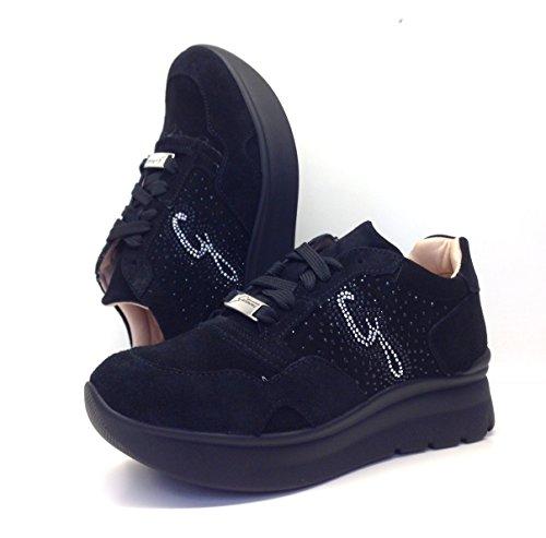 GATTINONI scarpe donna, sneakers, PIGVA6038WSA000 suede black,camoscio,lacci,zeppa. (40)