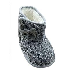 Weixinbuy Toddler Girls Fleece Woollen Fur Knitted Bowknot Snow Boot Grey 12-18M