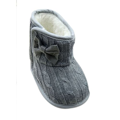 Weixinbuy Toddler Girls Fleece Woollen Fur Knitted Bowknot Snow Boot Grey 12-18M