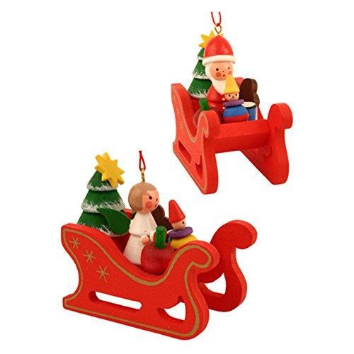 Christian Ulbricht Ornament – Assorted Angels/Santas In Sleigh – Set 6 – 2.25H X 2.25W X 1.25D