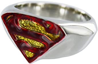 Superman Returns Logo Silver Plated Chunk Ring, Size 7