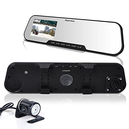 "E-Prance® 2.7"" All-In-One Hd Car Black Box+Car Dvr Road Dash Video Camera Recorder+Car Rear View Mirror front-279148"