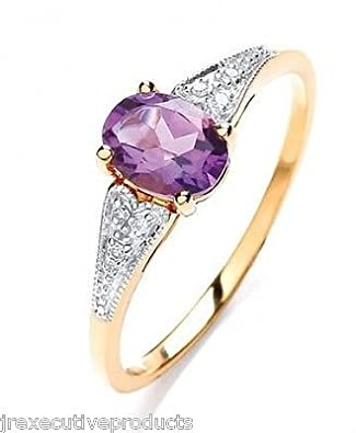 Yellow Gold Real Amethyst Oval & Diamond Ring (size K - T available)