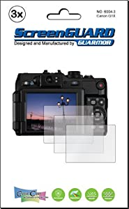 3x Canon PowerShot G1X Digital Camera Premium Clear LCD Screen Protector Cover Guard Shield Film Kits. Exact fit, no cutting. (3 pieces by GUARMOR)