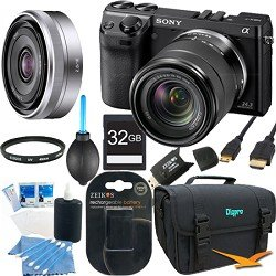 Sony NEX7K/B - NEX-7 24.3 MP Black Camera w/ 18-55mm & 16mm lens 32GB Bundle