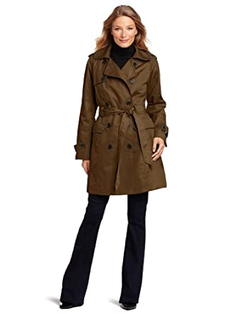 Jones New York Women's Double-Breasted Rain Trench, Bronze, Medium