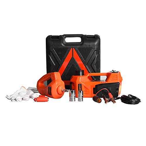 Roadside Emergency Kit Including 12V DC Electric Hydraulic Floor Jack with Inflatable pump and Electric Impact Wrench Tool Set (6.1-17.3 inch) (3 Ton Jack Case compare prices)