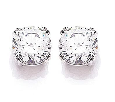 White Gold Cubic Zirconia Round Solitaire Earrings Made With Swarovski Elements