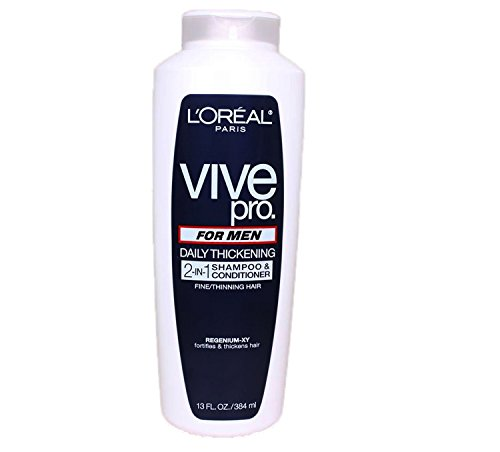 L'Oreal Paris Vive Pro For Men Daily Thickening 2-in-1 Shampoo & Conditioner, 13.0 Fluid Ounce (Loreal Everpure Thickening compare prices)