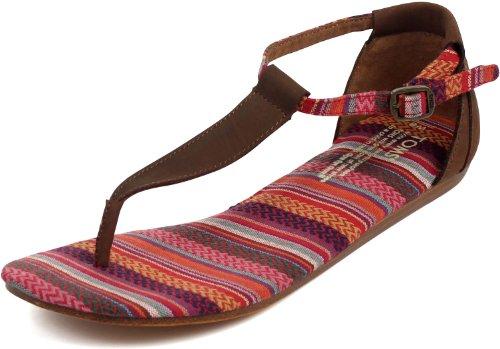 TOMS Women's Playa Sandal Brown Leather Woven Size 11 B US
