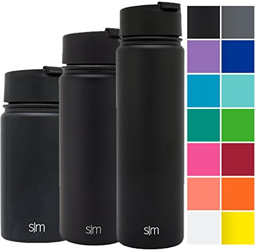Simple Modern 22oz Vacuum Insulated Stainless Steel Water Bottle - Extra Flip Lid Included - Summit Wide Mouth Thermos - Double Walled Flask - Powder Coated Hydro Canteen - Midnight Black (Metal Water Bottle Lid compare prices)