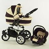 Lux4Kids® X6 4 en 1 cochecito combi con asiento de coche y parasol (cubierta de la lluvia, mosquitero, adaptador de asiento de coche, 18 colores)