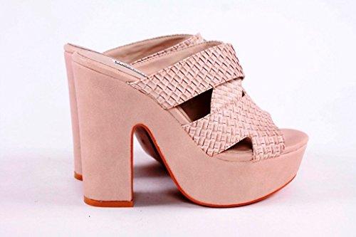 J314K FRANCESCO MILANO sandalo intrecciato tacco alto (40, Ghiaccio)