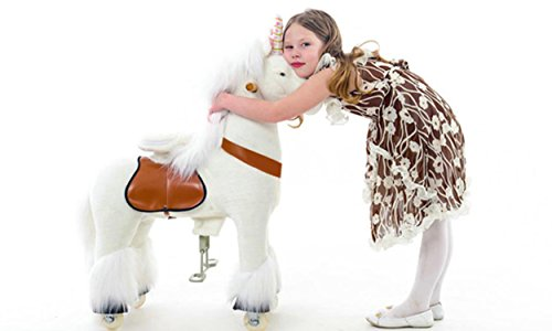 Smart Gear Pony Cycle White Unicorn Ride on Toy:  2 Sizes:  World's First Simulated Riding Toy for kids Age 4-9 Years Ponycycle ride-on medium (Gear Cycles compare prices)