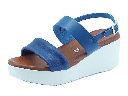Sandali Mercante di Fiori per donna in pelle colore blu zeppa media (Taglia 39)