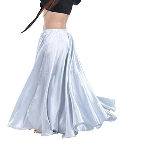 Satin Long Swing Skirt White Belly Dance Satin Long Dress Elastic Waistband Design Great Stage Effect