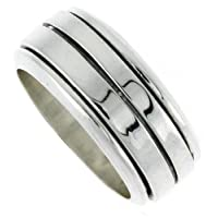 Sterling Silver 5/16 (8 mm) Flat Band Spinner Ring