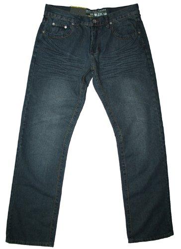 Industrie men's straight leg blue-black crinkle jean, 30W 32L