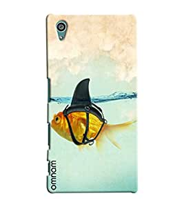 Omnam Gold Fish Wearing Shark Dress Printed Designer Back Cover Case For Sony Xperia Z5