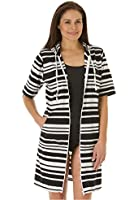 Women's Plus Size Relaxed Short Sleeve Striped Cover-Up