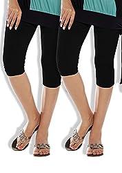 Lux Lyra Girls|Womens Silk Cotton capri ,Black ,Free Size