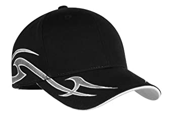 Port Authority Men's Racing Cap with Sickle Flames OSFA Black/Silver