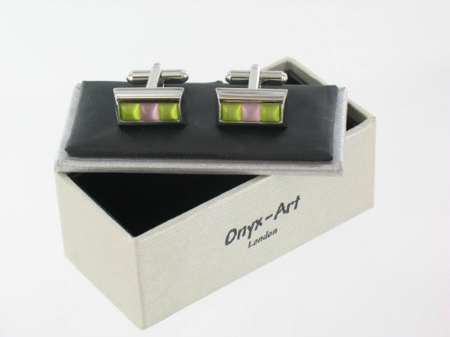 Mens Designer Stainless Steel Cufflinks with Pink and Green Squares