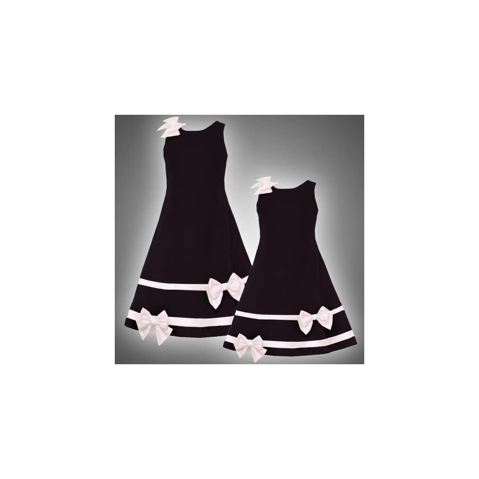 Size 6 RRE 46240H BLACK IVORY SATIN VELVET BOWS and BANDS Special Occasion Wedding Flower Girl Holiday Pageant Party Dress,H346240 Rare Editions LITTLE GIRLS